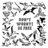Birds card be free black and white Royalty Free Stock Photos