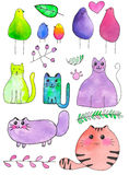 Birds, cats and plants. Hand-drawn cartoon characters. Real watercolor drawing. Vector illustration. Royalty Free Stock Photos