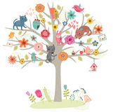 Birds and cats on the tree. Vector illustration Stock Photos
