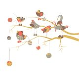 Birds celebrate Christmas. Vector cute birds on a branch celebrate Christmas Royalty Free Stock Images