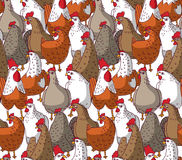 Birds chicken big group color seamless pattern. Stock Photography