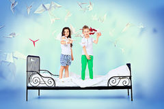Birds and children Royalty Free Stock Photo