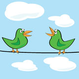 Birds chirping. Cartoon illustration of a couple of birds chirping on a wire Stock Photography