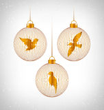 Birds in Christmas balls on grayscale Stock Photography