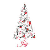 Birds on Christmas Tree Royalty Free Stock Image