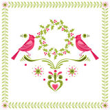 Birds with Christmas Wreath Royalty Free Stock Image
