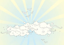 Birds in Clouds. Vector illustration of birds in clouds Royalty Free Stock Images