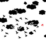 birds and clouds in the sky, vector Royalty Free Stock Images