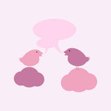 Birds on clouds with speech bubbles Royalty Free Stock Photos