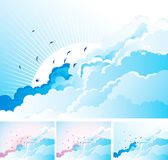 Birds in the cloudy sky. Vector blue  background with flying Swallows on cloudy sky.  Four kinds Stock Photo