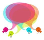 Birds with colorful speech bubble Stock Photos