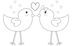Birds coloring page Royalty Free Stock Photos