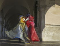 Birds. Costumed carnival participants wearing bird masks, Dog's Palace,  San Marco square, Venice, Italy Stock Images
