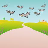 Birds in the countryside (vector) Stock Images