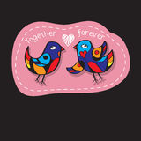Birds Couple in Love. Great illustration for greeting cards, wedding invitation and other graphical needs. Royalty Free Stock Images