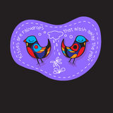 Birds Couple in Love. Great illustration for greeting cards, wedding invitation and other graphical needs. Stock Images