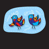 Birds Couple in Love. Great illustration for greeting cards, wedding invitation and other graphical needs. Stock Photos