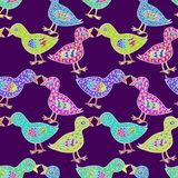 Birds couple in love with heart shape feathers. Hand drawn doodle, sketch in naïve, pop art style, seamless pattern design on dark purple background Royalty Free Stock Photos