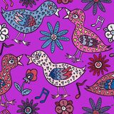 Birds couple in love with heart shape feathers, flowers and notes. Hand drawn doodle, sketch in naïve, pop art style, seamless pattern design on bright purple Stock Photos