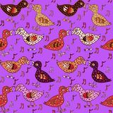 Birds couple in love with heart shape feathers and notes. Hand drawn doodle, sketch in naïve, pop art style, seamless pattern design on bright purple Stock Photography