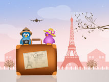 Birds couple traveling in Paris Royalty Free Stock Images