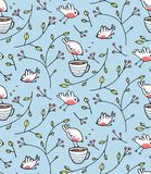 Birds and Cup of Tea Romantic Background Stock Photos