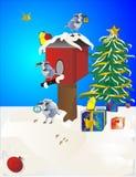 Birds decorating their bird house. Birds getting ready by decorating their birdhouse for the festive season Stock Photos