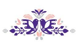 Birds decorative compositional elements for tags, cards, emblems, logos. Folk art royalty free illustration