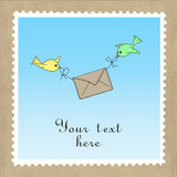 Birds delivering mail Royalty Free Stock Images