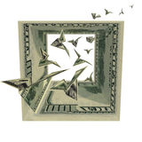 Birds in dollars square Royalty Free Stock Images