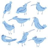 Birds doodle illustration. Crowd of birds seagulls. Hand draw vector illustration