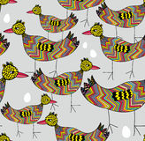Birds and eggs seamless background Royalty Free Stock Photography