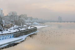 Birds and Embankment of Dnepropetrovsk Royalty Free Stock Photography