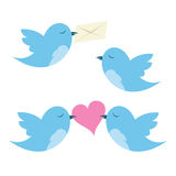 Birds with envelope and hearts Royalty Free Stock Photo
