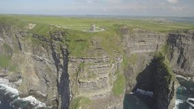 Birds eye aerial view from The Cliffs of Moher in County Clare,Ireland. Epic Irish Landscape Seascape along the wild atlantic way. stock video