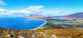 Birds eye aerial view from top of a mountain in achill island. Beautiful irish landscape and seascape of achill island rural countryside in county mayo Royalty Free Stock Photo