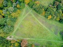 Birds Eye drone view of country park Stock Images