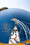 Birds eye fish eye Komodo. View from the mast of a live aboard dive boat in Komodo, Indonesia Stock Images