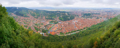 Birds-eye panorama of the Brasov city centre. Cylindrical panorama of the historical centre of the city of Brasov, Romania, with all the most notable landmarks Stock Image