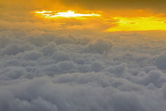 Birds eye view of above cloud and sky,. Sunset Cloudscape Royalty Free Stock Images