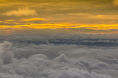 Birds eye view of above cloud and sky,. Sunset Cloudscape Stock Images