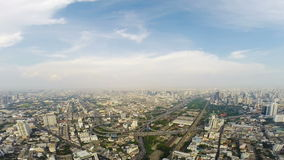 Birds eye view of Bangkok city stock footage