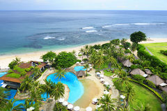 Birds-eye view of beautiful luxury resort and seashore. At Nusa Dua, Bali Royalty Free Stock Photos