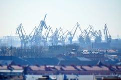 Birds eye view of cargo crane in port of Saint-Petersburg, Russia Stock Photos