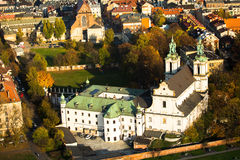 A birds eye view of the Church of St. Stanislaus Bishop in Krakow Stock Image