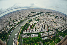 Birds eye view of the city of Paris Royalty Free Stock Photo