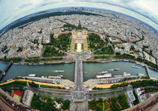 Bird's eye view of the city of Paris ,France ,  photographed fro Royalty Free Stock Photo