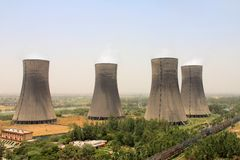 Birds eye view of 4 Cooling towers of Thermal Power Plant. Birds eye view / top view of four Natual draft Cooling towers of Thermal Power Plant at UP, India Stock Photography