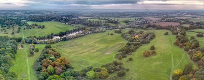 Birds Eye view of country park - drone Stock Photo
