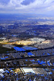 Birds Eye View of Dali City. I sat on the plane high in the sky, overlooking the city of Dali Royalty Free Stock Photos